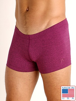 Model in magenta heather LASC Workout Micro Shorts