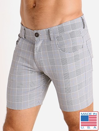 Model in grey/blue LASC London Plaid 5-Pocket Shorts