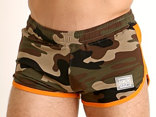 Model in army camo/orange Jack Adams Track & Field Short