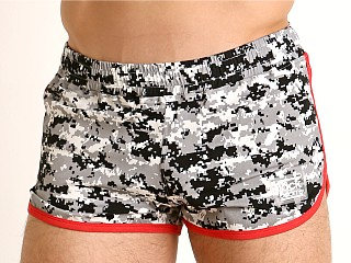Model in digital camo/red Jack Adams Track & Field Short