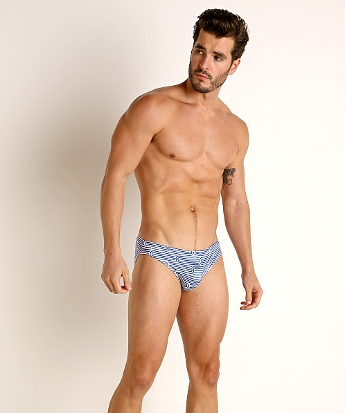 "Jack Adams S-Line 1"" Swim Brief Royal/White Print"