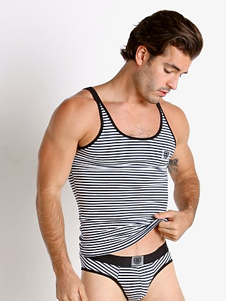 Model in navy/black TOF Paris Stripes Tank Top
