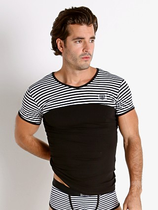 Model in black TOF Paris Stripes T-Shirt