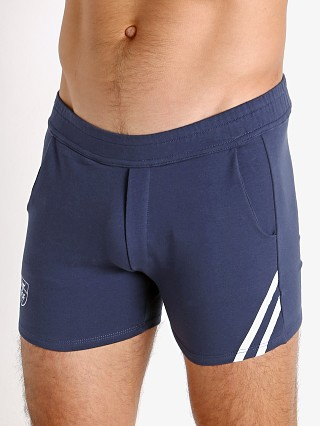 Model in navy/white TOF Paris Cotton/Lycra Active Shorts