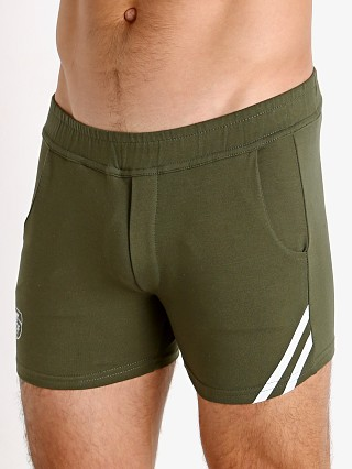 Model in khaki/white TOF Paris Cotton/Lycra Active Shorts