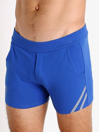 Model in blue/grey TOF Paris Cotton/Lycra Active Shorts