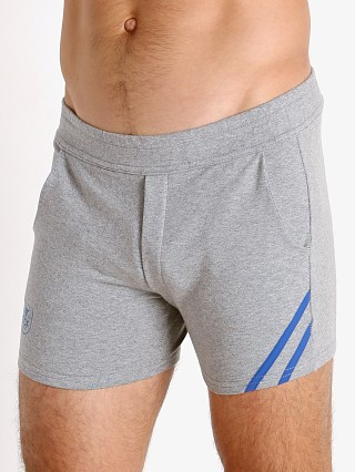 Model in grey/blue TOF Paris Cotton/Lycra Active Shorts