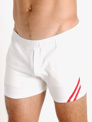 Model in white/red TOF Paris Cotton/Lycra Active Shorts
