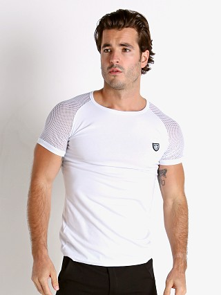 Model in white TOF Paris Davio Mesh Shoulder T-Shirt