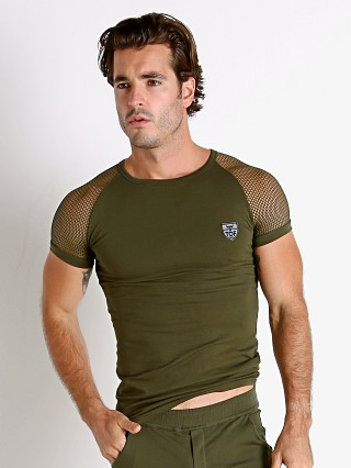 Model in khaki TOF Paris Davio Mesh Shoulder T-Shirt