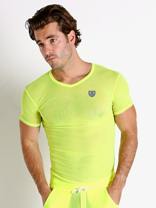 Model in yellow TOF Paris Happy Neon Sheer Mesh T-Shirt