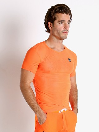 Model in orange TOF Paris Happy Neon Sheer Mesh T-Shirt