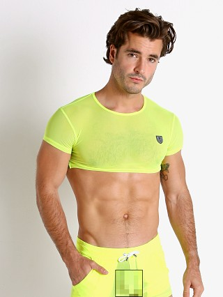 Model in yellow TOF Paris Happy Neon Sheer Mesh Crop Top