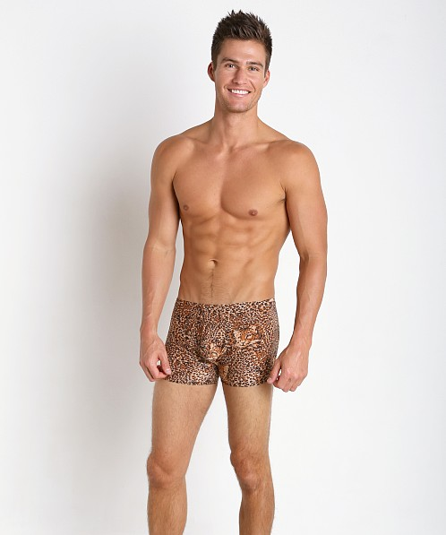 Male Power Leopard Pouch Short Brown Leopard