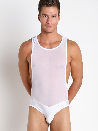 Male Power Sheer Spandex Mesh One Piece Singlet White