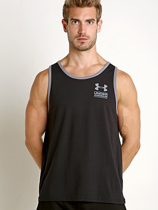 Model in black Under Armour Stacked Logo Tank Top