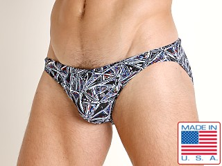Model in prism print LASC St. Tropez Low Rise Swim Brief Prism