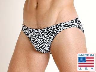 Model in snow leopard print LASC St. Tropez Low Rise Swim Brief Snow Leopard
