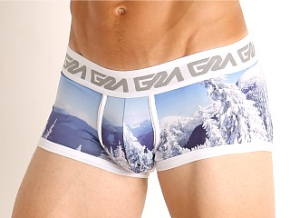 Model in ski mountain print Garcon Whistler Trunk