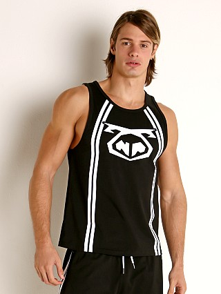 Model in black Nasty Pig Pushback Tank Top