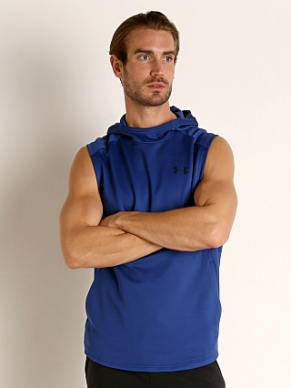 Model in american blue Under Armour MK-1 Lightweight Sleeveless Hoodie