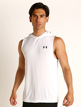 Model in white Under Armour Seamless Sleeveless Hoodie