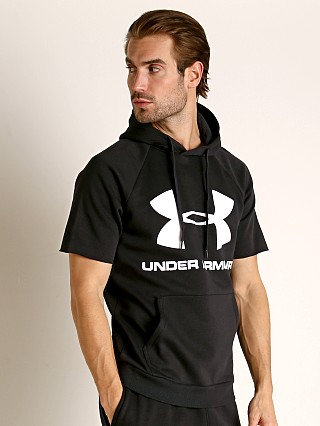 Model in black Under Armour Rival Fleece Logo Shortsleeve Hoodie