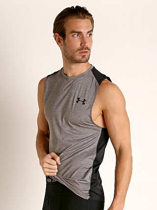 Model in charcoal light heather Under Armour Raid 2.0 Muscle Tee