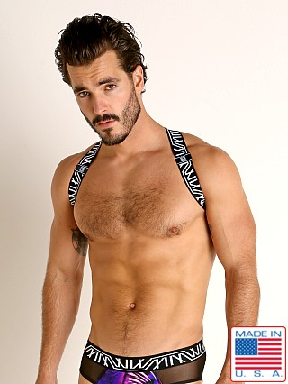Model in black/white Marco Marco Abstract Logo Print Harness