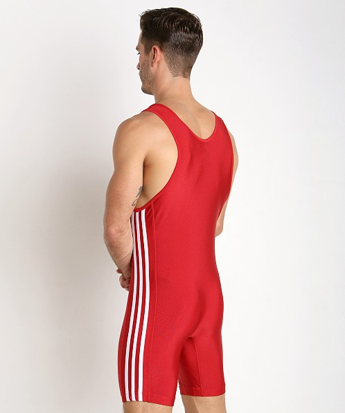 Adidas 3 Stripe Wrestling Singlet Red/White