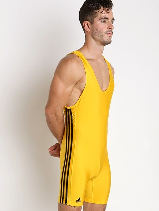 Model in gold/black Adidas 3 Stripe Wrestling Singlet