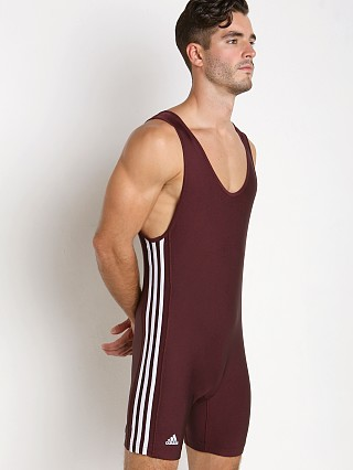 Model in maroon/white Adidas 3 Stripe Wrestling Singlet
