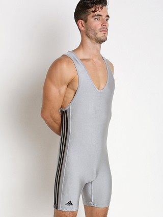 Model in grey/black Adidas 3 Stripe Wrestling Singlet