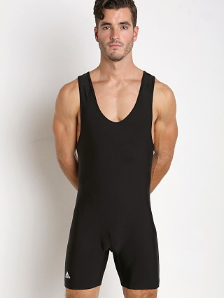 Model in black Adidas Solid Wrestling Singlet