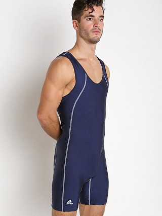 Model in navy Adidas Side Panel Singlet