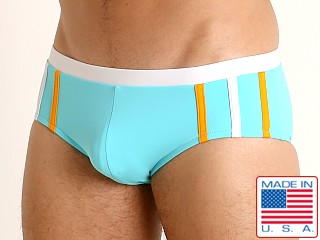 Sauvage Striped Racing Swim Brief Aqua