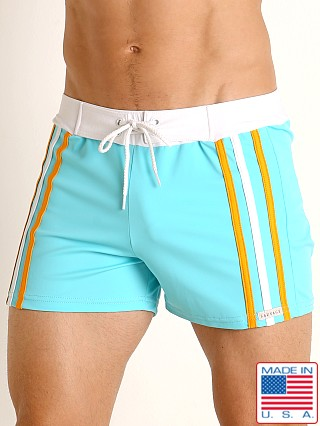 Sauvage Side Striped Swim Trunk Aqua