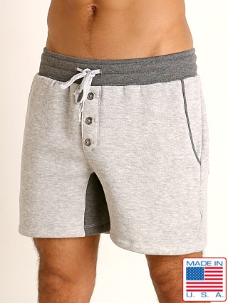 Model in grey/charcoal LASC Fleece Colorblock Drawstring Shorts