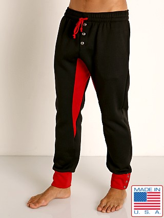 Model in black/red LASC Fleece Colorblock Drawstring Pant
