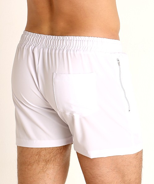 LASC Zippered Pockets Stretch Woven Gym Shorts White