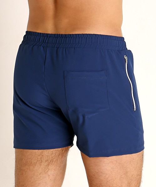 LASC Zippered Pockets Stretch Woven Gym Shorts Navy