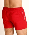 LASC Zippered Pockets Stretch Woven Gym Shorts Red, view 4