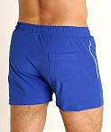 LASC Zippered Pockets Stretch Woven Gym Shorts Royal, view 4