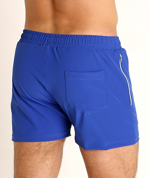 LASC Zippered Pockets Stretch Woven Gym Shorts Royal