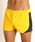 LASC Pique Mesh Lined Running Shorts Gold/Navy, view 3
