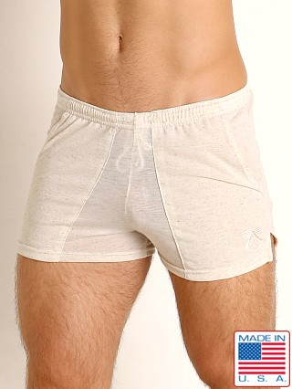 Model in natural LASC Slub Jersey Workout Shorts