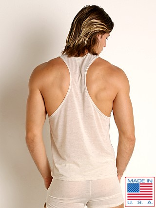 Model in natural LASC Slub Jersey Workout Tank Top