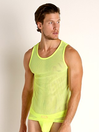 Model in yellow Vaux VX1 Mesh Tank Top
