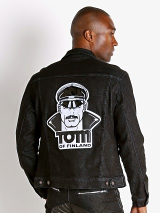 Model in black Cell Block 13 Tom of Finland Hustler Jacket Face Patch