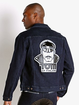 Model in indigo Cell Block 13 Tom of Finland Hustler Jacket Face Patch